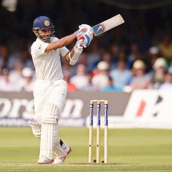 India's Ajinkya Rahane hits out during the second cricket test match against England at Lord's cricket ground in London July 17, 2014.
