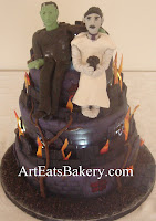 Custom creative unique sculpted purple and black Frankenstien and bride mad hatter halloween wedding cake design idea picture