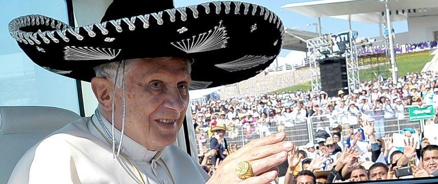 papa, benedicto xvi, papa en méxico, papa sombrero charro, visita papa mexico, qué dejó la visita del papa a méxico, por qué visitó el papa méxico, #papaenmexico, #benedictoxvi, reseña viaje papa mexico