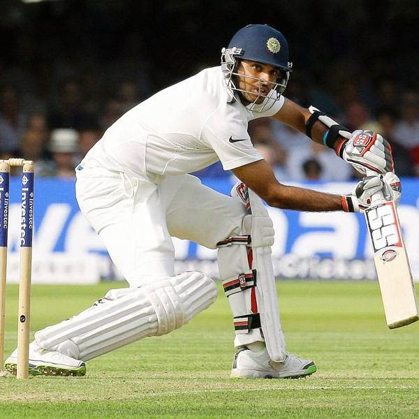 India's Bhuvneshwar Kumar plays a shot off the bowling of England's Ben Stokes during the first day of the second test match between England and India at Lord's cricket ground in London, Thursday, July 17, 2014.