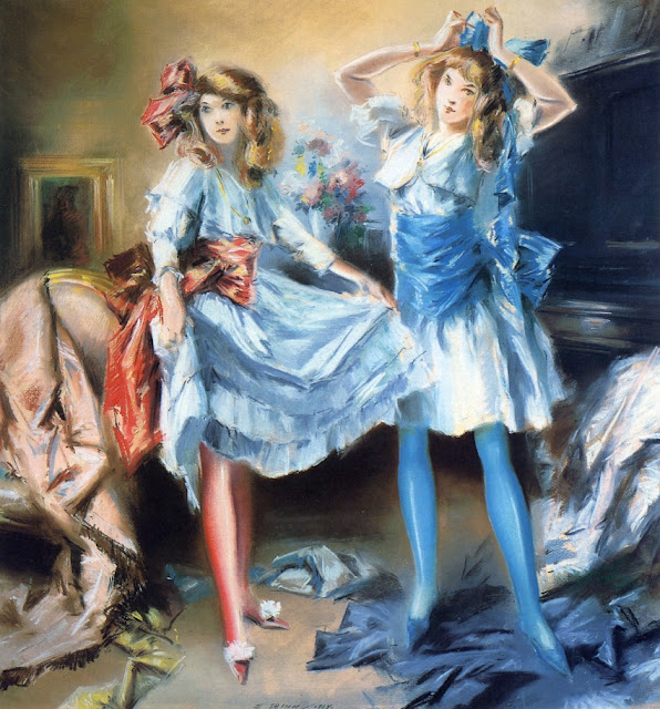 Everett Shinn - Two Girls Dressing for a Party