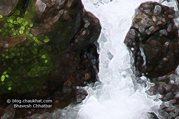 A crop of a beautiful waterstream amongst countless flowing in the valleys of Tamhini Ghat in the Western Ghats