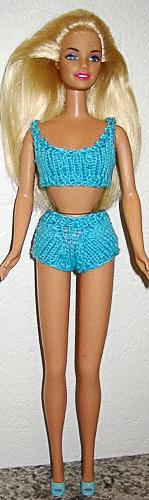 Голубой купальник для Барби