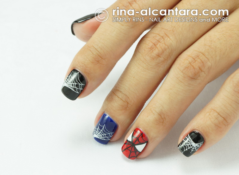 Nail art spiderman simply rins spiderman nail art design prinsesfo Choice Image