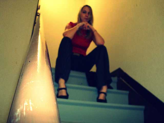 out of focus in the stairwell