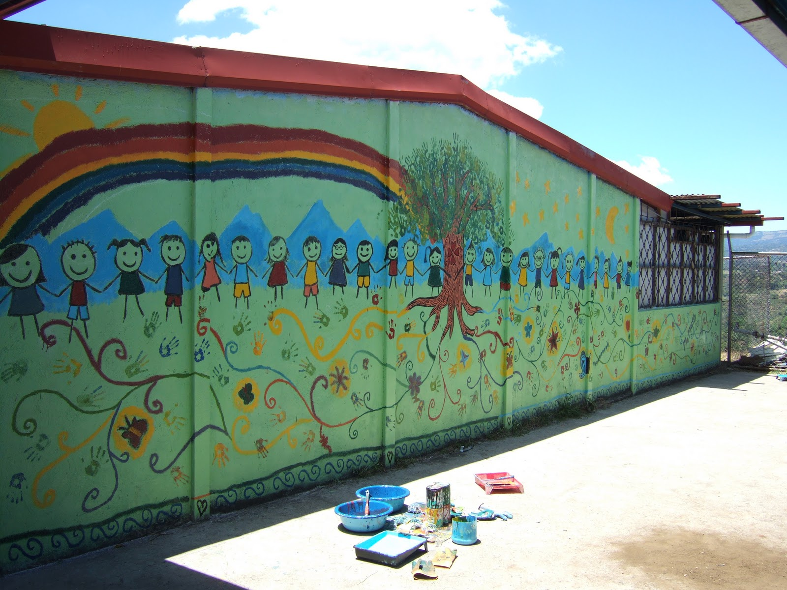 We Have Also Completed A Beautiful Interactive Mural Finished With The  Heart Warming Touch Of The Volunteer´s Hand Prints As Tree Leaves.