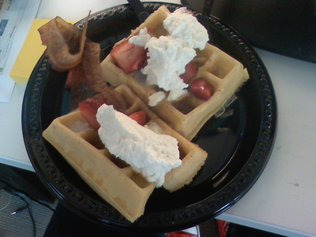 Waffles and bacon. Breakfast done right at @TheMotleyFool on Twitpic