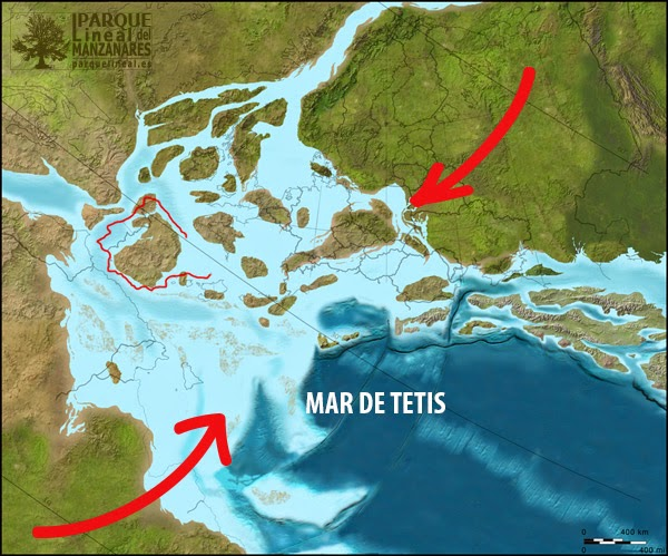 Emergen las primeras tierras de la Península. Fuente: http://cpgeosystems.com/