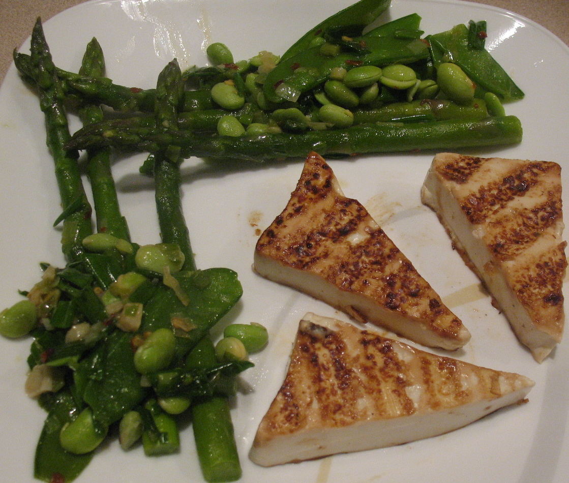 Grilled Tofu with Asparagus Snap Peas and Edamame Stir Fry
