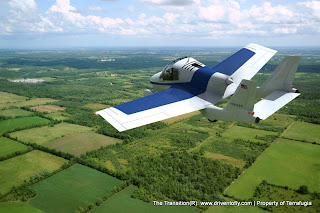 actual blue and white flying car in flight