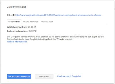 Webmaster Tools Crawling-Fehler März 2012