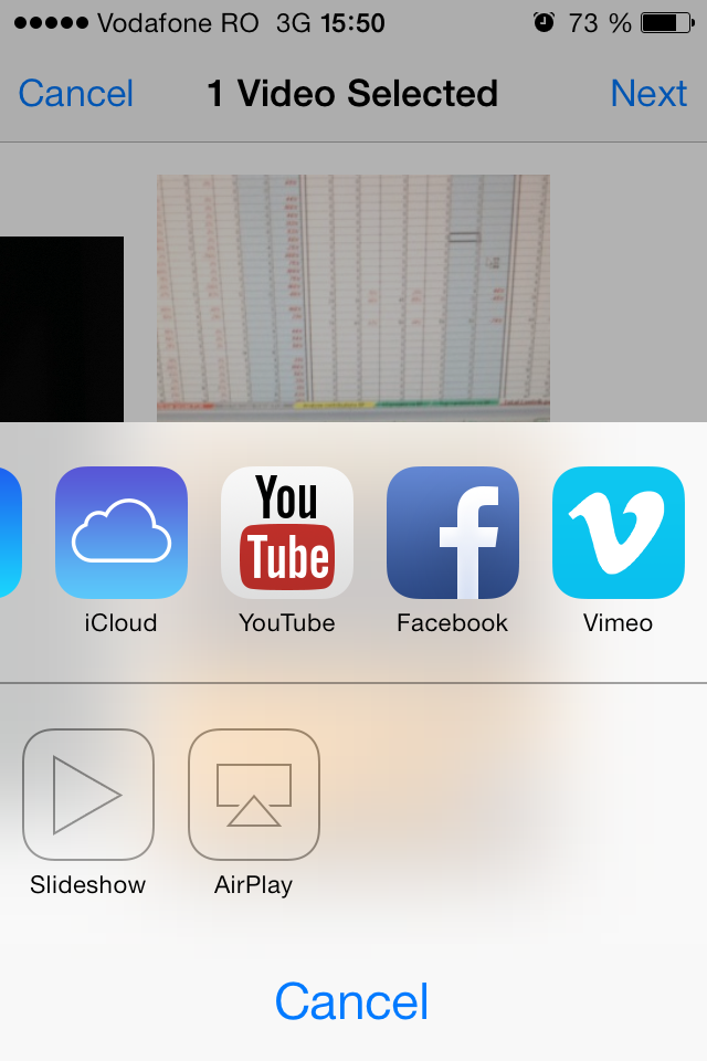 iOS 7 sharing sheet with YouTube