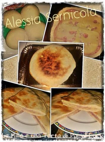 focaccia cotta in padella, farcita con cotto e formaggio svizzero