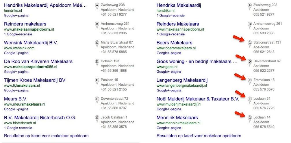 Makelaar Apeldoorn in de zoekresultaten op 11 februari en 28 mei 2015