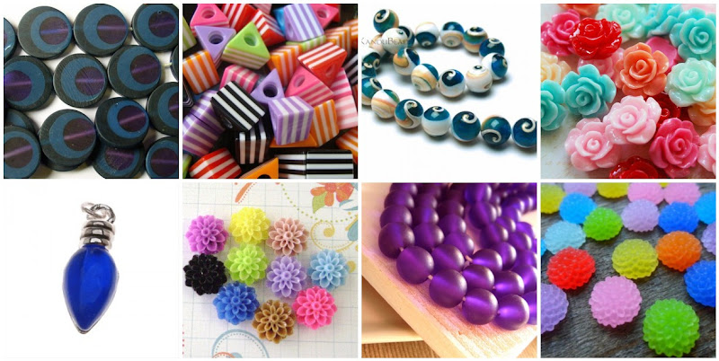Assorted Resin Beads and Cabochons