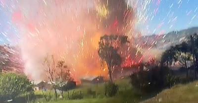 Enorme estouro aquando da explosão de fábrica de fogo-de-artifício na Colômbia