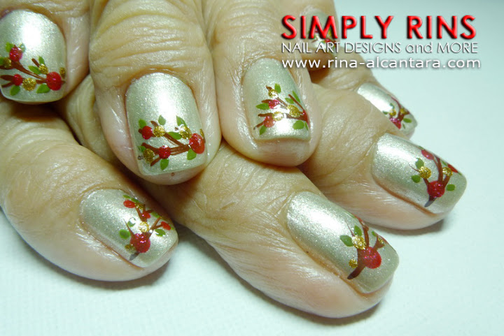 Christmas Twigs Nail Art Design