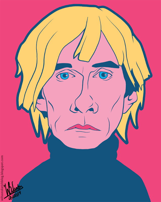 Cartoon caricature of Andy Warhol.