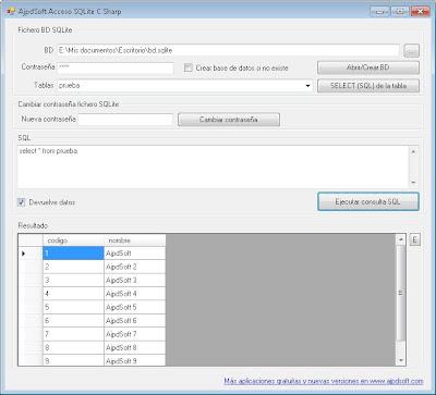 AjpdSoft Acceso SQLite C# ADO.NET en funcionamiento