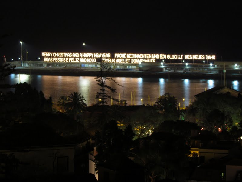 Happy new year in 4 languages in Funchal port
