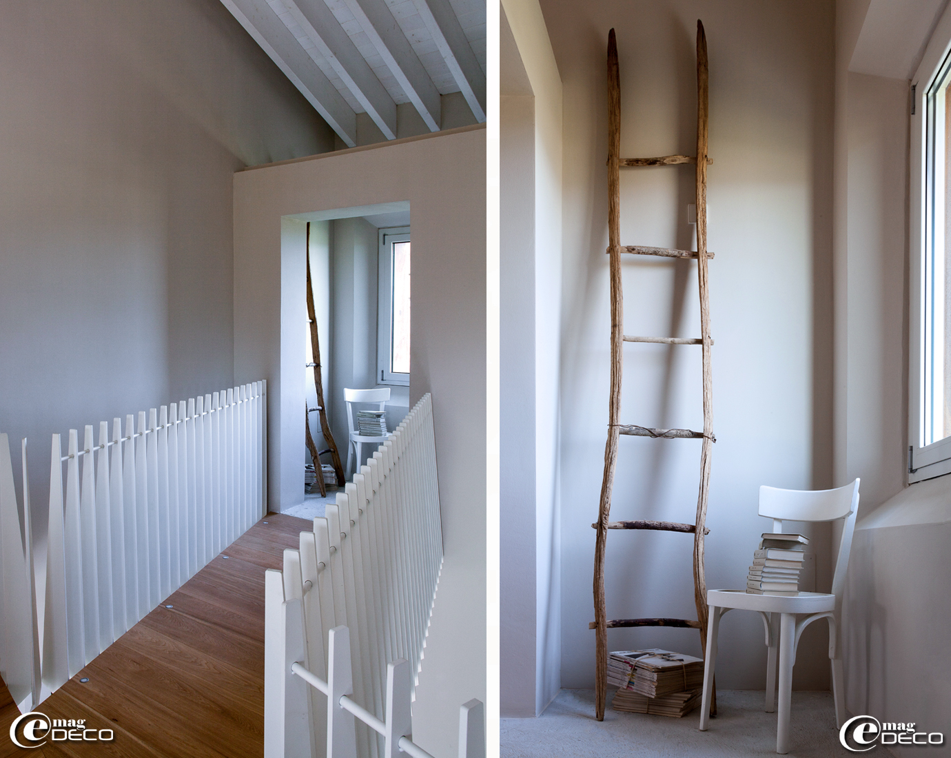 Ancienne échelle en bois, chaise de bistrot chinée et peinte en blanc, collection de livres et de magazines 'Architecttura'