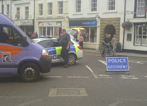 Police roadblock in Bullring of the town