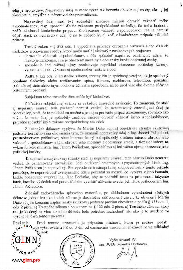 Uznesenie o vzneseni obvinenia NAKA, Martin Dano, Jan Pociatek, strana 4/4
