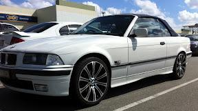 1995 E36 328i Convertible White With Dark Blue Top And Grey Leather Interior 18 E90 M3 Wheels Alpine Ida X305 Stealth 8 Sub In Ski P