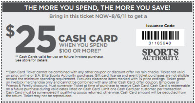 graphic about Sports Authority Coupons Printable known as Sports activities Authority Coupon August 2011, $10-$25 Off - Daissi