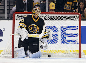 Tuukka Rask reacts after allowing the winning goal in the shootout to Todd Bertuzzi