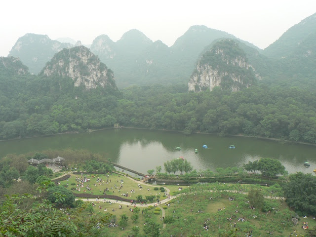 karst scenery behind a lake