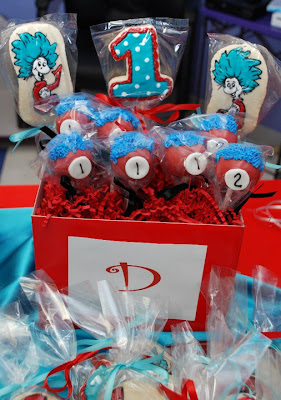 Dr Seuss Thing 1 and Thing 2 Cake Pops