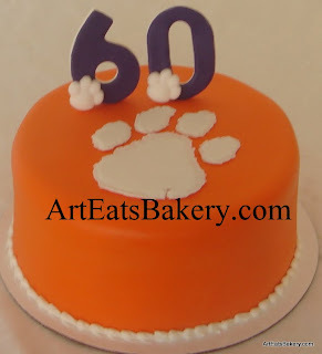 Clemson orange, purple and white tiger paw 60th birthday cake design idea photo