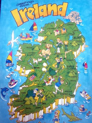 postcards, map cards, Ireland