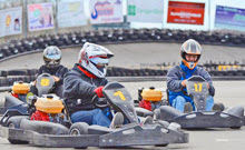 J/24 sailors go-karting in Montreal, Quebec