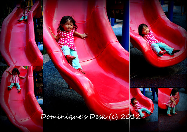 Tiger girl on the slide