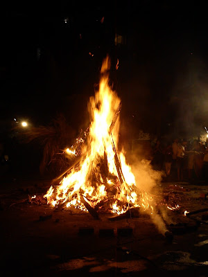 A Bonfire during the Holika Dahan ritual during the Holi festival in India