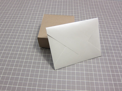 And, magically, with just one simple tool and almost no time at all, you have a fabulous craft paper box and a beautiful, shimmery envelope.