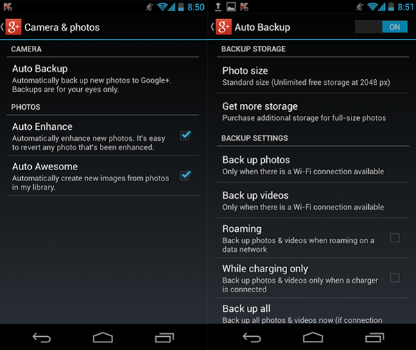 Google Plus Auto Backup Jellybean 4.2.2