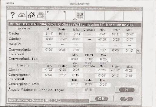 (W204): Alinhamento, cáster e cambagem - parâmetros W204%2Balinhamento