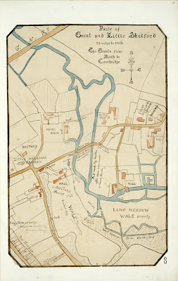 A Record of Shelford Parva by Fanny Wale P8 fo.10, page 8: A map of Great and Little Shelford with some details of property. [fo. 8]