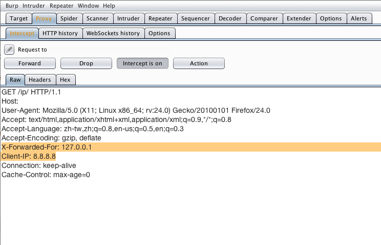 使用 Burp Suite 修改 HTTP Request Header