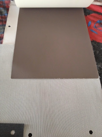 taupe white roller blind