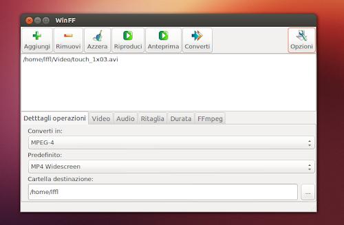 WinFF 1.4.3 su Ubuntu