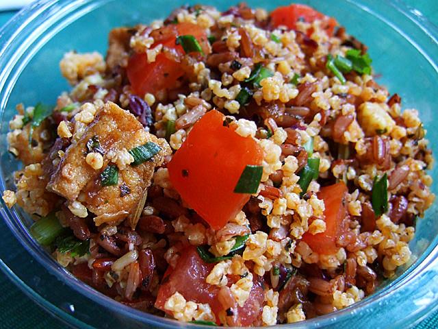 Forbidden rice, millet and mushroom salad
