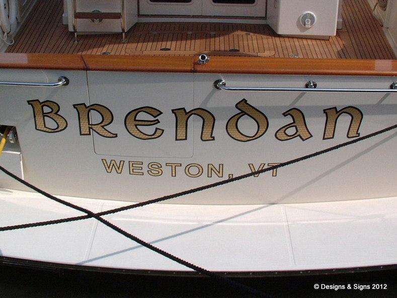 gold leaf boat name - brenda