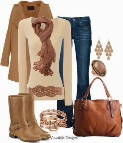 Brown long jacket, scarf, jeans, long boots and brown hand bag for fall
