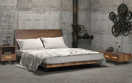 Simple Bedroom Decor with Concrete Wall and Wood Furniture