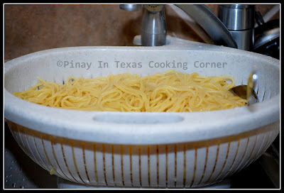 Add The Spaghetti Noodles And Cook Until Tender See Package For Cooking Time Drain And Set Aside