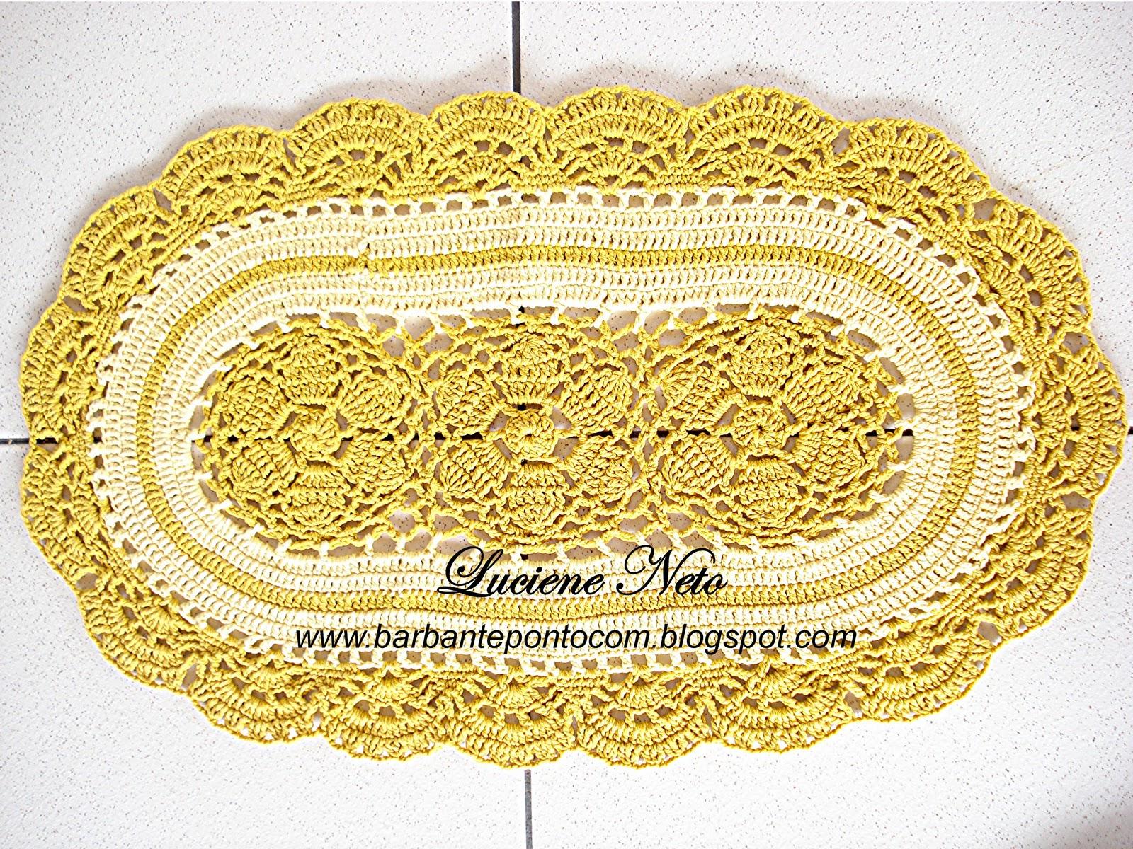 Tapete Oval Amarelo Barbante Pioneiro barbantepontocom #AD971E 1600 1200